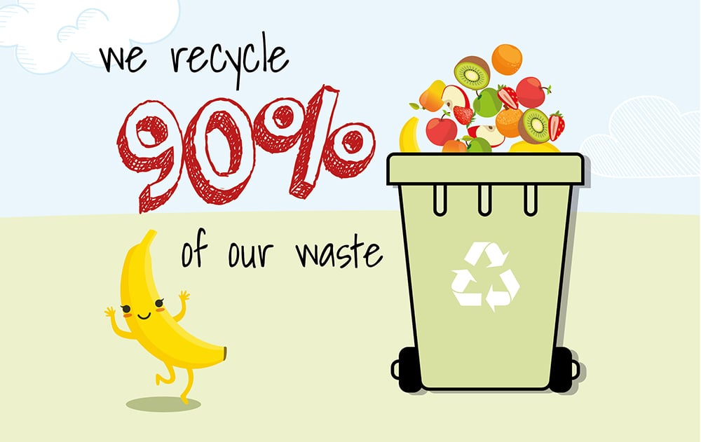 90% recycled waste, daily fruit delivery, office fruit basket